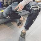 【全館八九折】日系百搭男士春季牛仔長褲正韓破洞乞丐修身小腳褲子街頭個性潮流