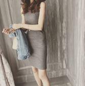 無袖洋裝 秋針織無袖連身裙女韓國裙子打底包臀緊身天修身中長款背心 糖果時尚