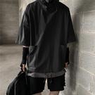 連帽T恤 黑暗系男裝國潮工裝機能風五分袖衛衣男七分寬鬆慵懶連帽短袖T恤 歐歐