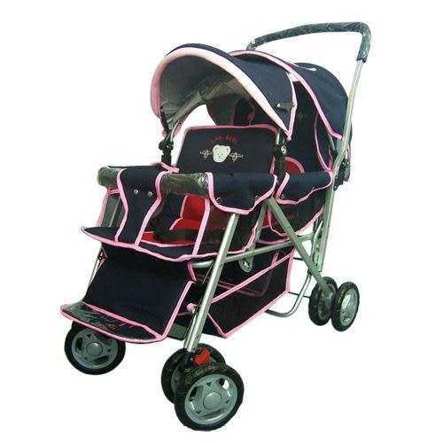 【奇買親子購物網】IAN BABY 899F2抗UV加大鋁合金雙人座嬰兒車(黑粉/黑紅/果綠)/台灣製