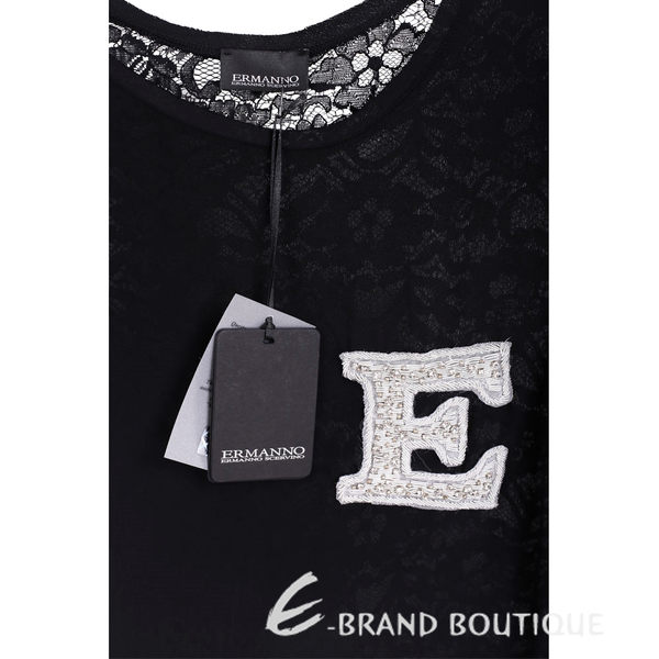 SCERVINO 黑色蕾絲袖字母棉料T恤 1620316-01