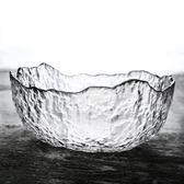 沙拉碗 創意日式錘目紋玻璃餐具碗 家用大號水果碗個性異形玻璃碗 森活雜貨