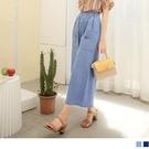 《BA6272-》含棉牛仔鬆緊腰造型口袋七分寬褲 OB嚴選