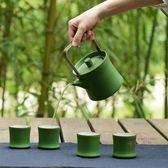 茶具 陶瓷功夫茶具提梁茶壺一壺六杯整套綠竹款茶杯日式茶具禮盒xw