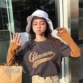 正韓條紋拼接袖假兩件套女學生寬鬆印花T恤長袖秋裝上衣熱賣夯款