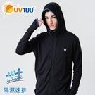 UV100 防曬 抗UV-隔濕速排合身透氣外套-男