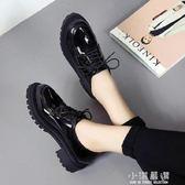 春秋新款復古深口圓頭粗跟英倫風女鞋布洛克女中跟單鞋漆皮小皮鞋『小淇嚴選』