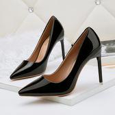 韓版尖頭鞋 性感細跟高跟鞋 漆皮職業OL工作鞋《小師妹》sm1407