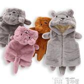 嬰兒背心 嬰兒背心秋冬季0一3歲男女童寶寶外穿加厚保暖嬰幼兒毛絨連帽背心 童趣屋