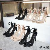涼鞋女細跟百搭一字帶扣高跟鞋小碼