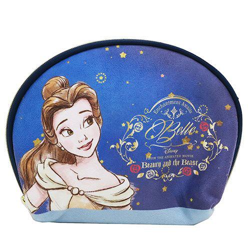 《Small Planet》迪士尼公主美女與野獸 貝殼型大開口化妝包(璀璨星空)_DP24791