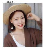 日韓國簡約三角幾何樹脂百搭雙層長款耳環無耳洞耳夾耳飾品女R019【櫻花本鋪】