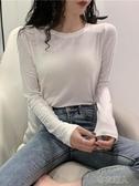 保暖長袖 秋裝新款長袖t恤女網紅顯瘦chic百搭韓版緊身洋氣打底衫上衣 布衣潮人