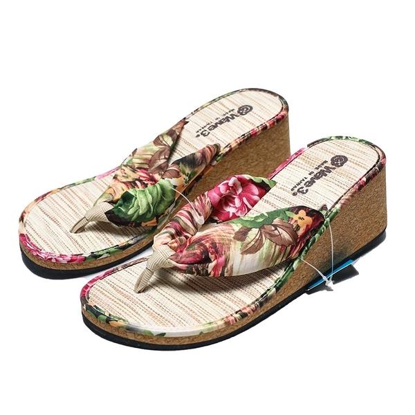 WAVE3 扶桑花 竹蓆 增高 夾腳拖 人字拖 海灘 拖鞋 女生 (布魯克林) G14208107