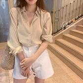 方領襯衣女設計感小眾夏季2021長袖法式上衣棉麻防曬港風襯衫薄款 「雙11狂歡購」
