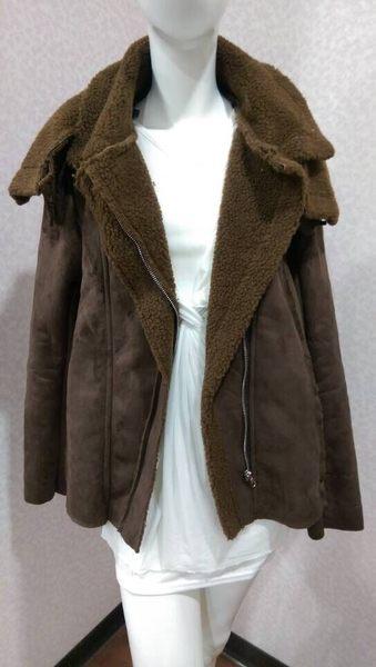 大衣 韓版 秋冬 絨面刷毛 翻領 短版外套 *27小舖【現貨】