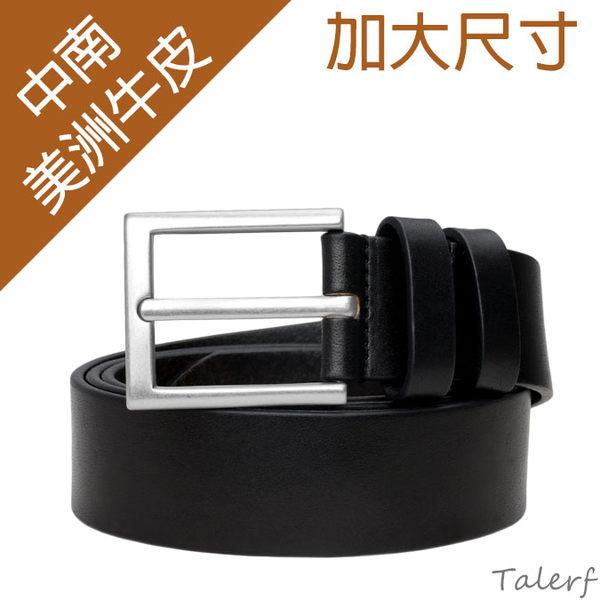 TALERF單層加大尺寸紳士休閒皮帶(黑色/共2色)-男 /真皮 牛皮 加長/台灣製造