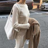 韓國新款大容量極簡風字母單肩帆布包簡約手提女包純色托特包大包 〖korea時尚記〗
