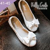 大尺碼女鞋-凱莉密碼-秋冬新色霧面緞帶蝴蝶結蛋捲平底鞋娃娃鞋1cm(41-45)【GL728-B8】白色