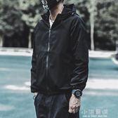 秋季潮流韓版衝鋒衣男薄款修身純色加棉加厚休閒連帽外套夾克男潮『小淇嚴選』
