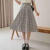 現貨-MIUSTAR 氣質滿分!鬆緊腰假排釦格紋中長裙(共2色)【NJ1203】