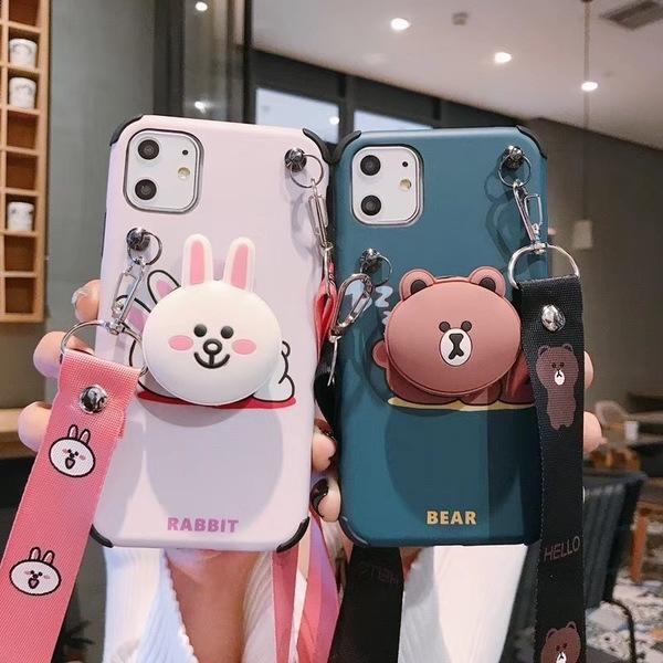 【SZ24】iphone11手機殼 韓國趴趴熊兔+支架+掛繩iphone XS max iphone 8 plus iphone xr手機殼 xs手機殼