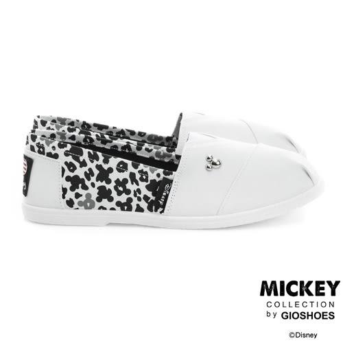 Disney 率性小日子 米奇側邊迷彩懶人鞋-白