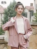 慕兔港味復古雙排扣小西裝外套女夏2019新款韓版寬鬆薄西服上衣