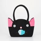 手提包~雅瑪小鋪日系貓咪包 小黑貓愛吃魚手提包/側背包/拼布包包