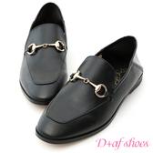 樂福鞋 D+AF 上質品味.馬銜釦後踩式二穿紳士便鞋*黑