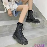 網美馬丁靴女英倫風春季新款百搭厚底增高靴子IG潮機車短靴超級品牌【公主日記】