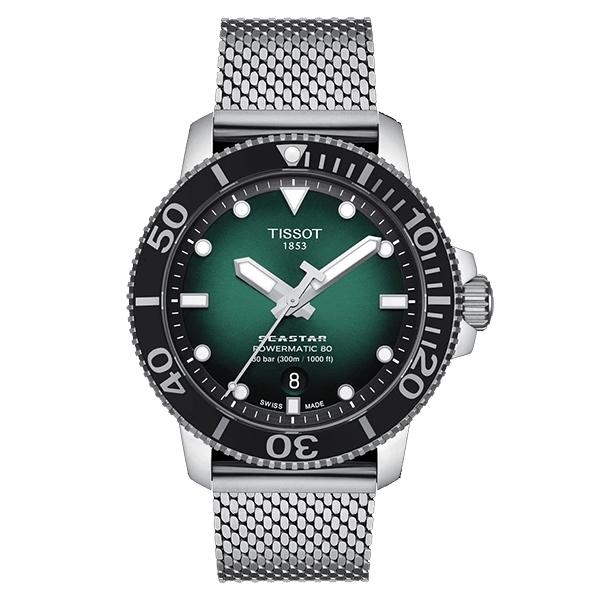 ◆TISSOT◆ 新上市 SEASTAR陶瓷錶圈300米潛水錶 POWERMATIC 80 T120.407.11.091.00黑X綠