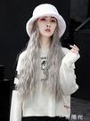 假發帽子可拆卸秋冬季網紅羊毛卷一體時尚自然仿真中長毛絨漁夫帽 一米陽光