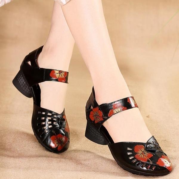 低跟鞋 夏季新款民族風涼鞋女中粗跟真皮軟底復古女士涼皮鞋媽媽包頭涼鞋