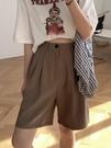 西裝短褲 夏季小個子高腰薄款西裝短褲ins寬鬆休閒直筒闊腿五分工裝褲子女 韓國時尚週 免運