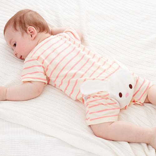 短袖連身衣包屁衣 嬰兒條紋小兔連身衣連身衣