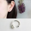 925純銀耳環。AngelNaNa  單只無耳洞珍珠貝珠-耳夾耳飾銀飾 (SRA0509)