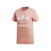 adidas 短袖T恤 Trefoil Tee 粉 白 女款 一般版型 三葉草 【PUMP306】 DV2587