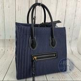 BRAND楓月 CELINE PHANTOM 深藍色 黑皮革 條紋 帆布 手提包 托特包