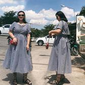 胖MM裙子2018夏季新款微胖大碼女裝格子遮肚子顯瘦連衣裙潮