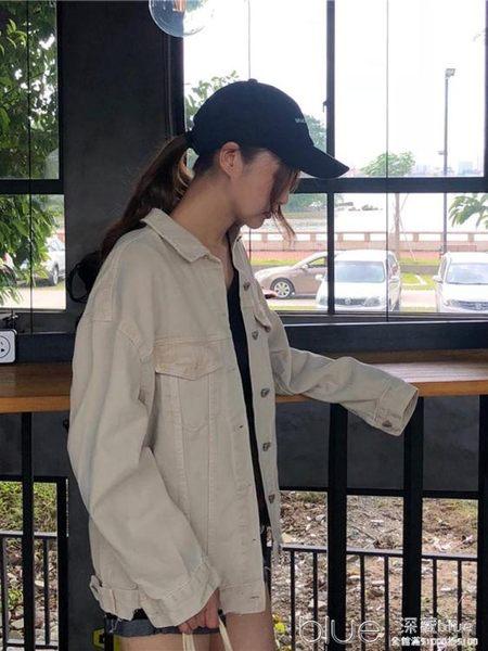 秋季女裝港風嘻哈牛仔外套寬鬆工裝長袖夾克上衣牛仔褂潮 深藏blue