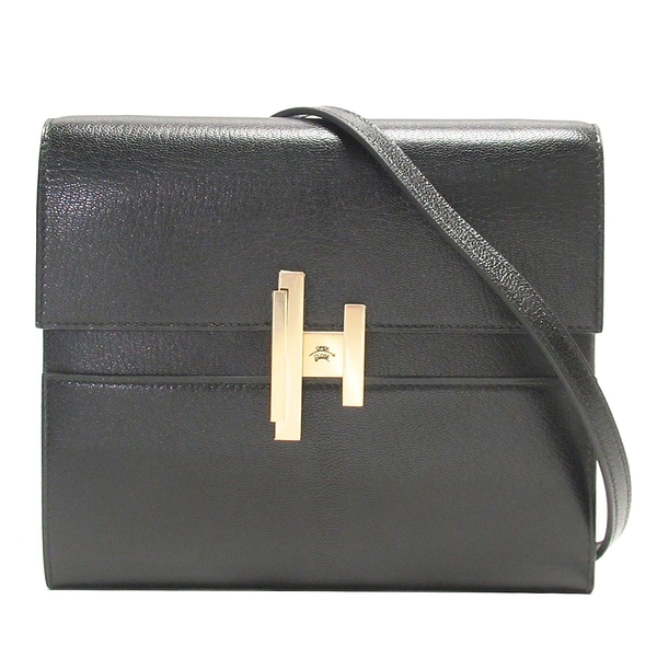 HERMES 愛馬仕 89 Noir 黑色山羊皮金釦手提肩背2way包 Cinhetic To Go wallet Y刻