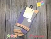 【京之物語】日本親自帶回溫柔紫綠拼接配色休閒女性短襪
