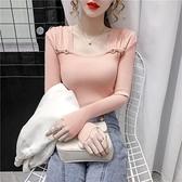 方領針織衫2021新款秋冬時尚氣質洋氣低領內搭打底衫外穿毛衣女 伊蘿