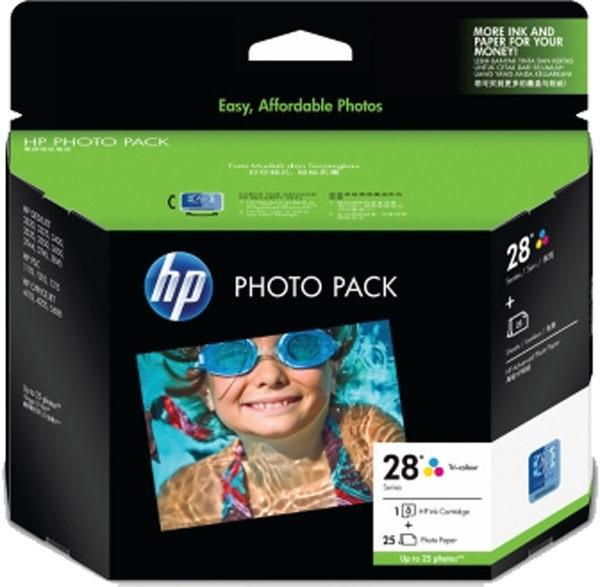 Q8893AA HP 28 Photo Pack Glossy 4x6.5 AP 25 Sht 彩色墨水匣(送相片紙) 適用 DJ3320/3325/3420/3535/3550/3650