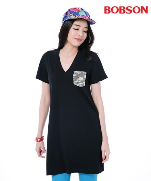 BOBSON 女款V領口長版衣  (26107-88)