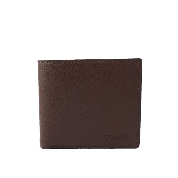 【COACH】素面全皮8卡對開短夾(咖啡色)F75084 MAH