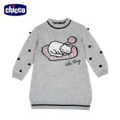 chicco-時尚女孩-棉毛混紡貓咪針織洋裝