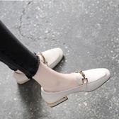 軟皮樂福鞋女一腳蹬2020春款百搭方頭粗跟單鞋淺口平底英倫小皮鞋 非凡小鋪