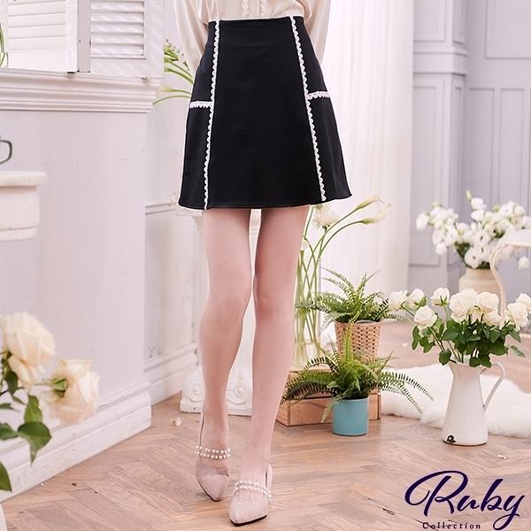 褲裙 小香風珍珠排扣後鬆緊褲裙-Ruby s 露比午茶